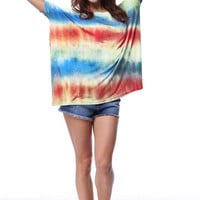Authentic Tie Dye Piko Top, Multi