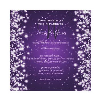 Wedding Save The Date Winter Sparkle Purple Custom Invitation from Zazzle.com