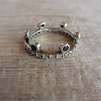 Sterling Silver Crown Ring Cubic zircon and Marquisite Royal Princess Ring