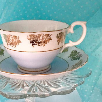 Vintage Tea Cup and Saucer, Gold English Teacup Set, High Tea Blue Bone China Tea Cup, New Baby Gift Boy
