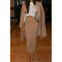 Elegant Solid Color High-Waisted Pencil Skirt For Women