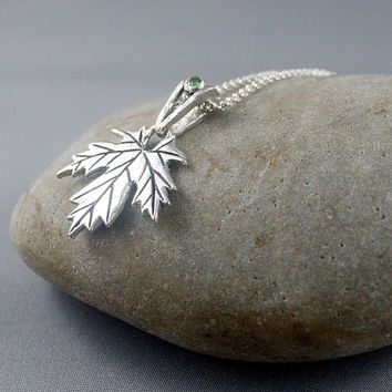 Maple Leaf necklace made by a Canadian jeweler. Green tourmaline necklace.  Gift for her.
