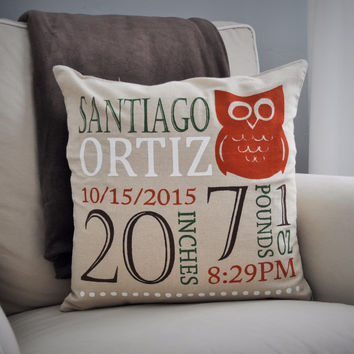 Owl Theme - Personalized birth pillow cover