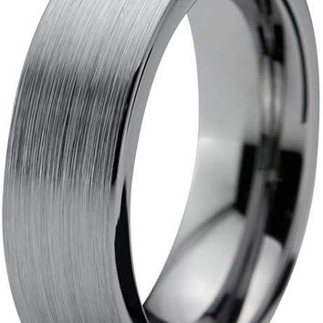 Grey Tungsten Wedding Ring Flat Cut Comfort Fit and Brushed Polished - 6mm