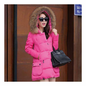 Winter Woman Fur Collar Down Coat Middle Long Warm   rose red   S