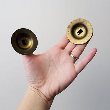 Vintage Brass Finger Cymbals - Belly Dancer Finger Cymbals - Brass Castanets Musical Instuments