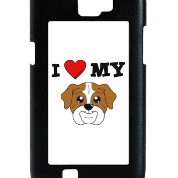 I Heart My - Cute Bulldog - Red Galaxy Note 2 Case  by TooLoud