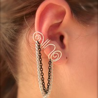 Silver Plated Ear Cuff With Silver .. on Luulla