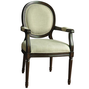 Crestview Collection S Huntington Linen Round Back Accent Chair
