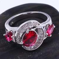 925 Silver Red Gem Rhinestone Band Ring at Online Jewelry Store Gofavor