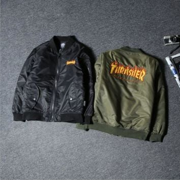 ESBC8S Tide brand autumn and winter the new Thrasher Flame Street flight jacket cotton men and women couple jacket Black