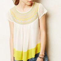 Suncup Blouse by Anthropologie White