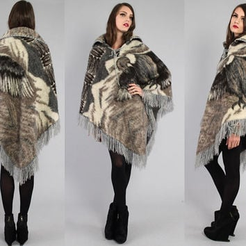 Vtg 70s Western Navajo EAGLE print Fuzzy Wool Cape Poncho Coat OS