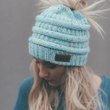 Messy Bun Knitted Beanie - Confetti Mint