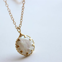Mother of Pearl Coin Pendant on 24inch Matte Gold Chain Necklace