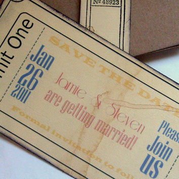 Rustic save the date ticket circus carnival boat by 0namesleft