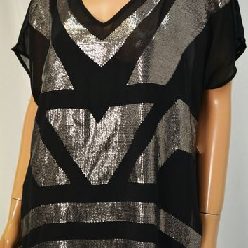 Charter Club Women's V-Neck Black Sheer Sequined Blouse Top XXL