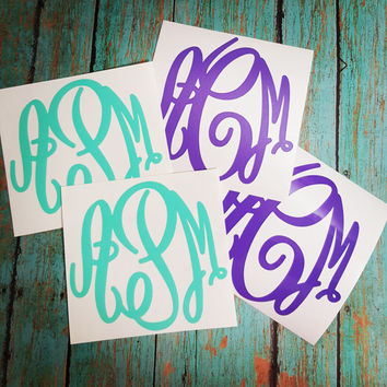 Vinyl Monogram Decal, Car Monogram, Yeti Monogram, Tumbler Monogram, Water Bottle Monogram, Glitter Monogram Decal, Monogram Sticker