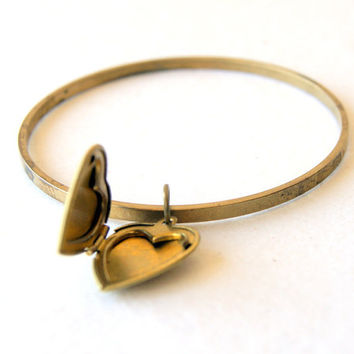 Brass Bangle Bracelet - Bangle Bracelet - vintage bangle and heart locket - charm bracelet - heart jewelry - boho chic