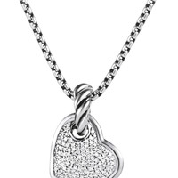 Cable Heart Pendant with Diamonds - David Yurman - Silver