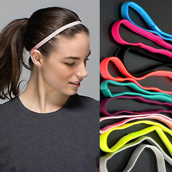 5pcs/lot Fashion 2016 Women Men Sports Headband  yoga hair elastic bands Anti-slip Elastic Rubber Sweatband