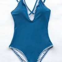 Cupshe Sapphire Blue Cross One-piece Swimsuit