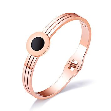 GAGAFEEL Personalized Engrave Cuff Bangle Bracelet Women Jewelry Rose Gold Silver Color With Round Design Stainless Steel