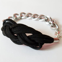 Sailor Knot Bracelet - Black Suede Bracelet with Sailor Knot and Silver Color Aluminum Chain - Rock and Cool