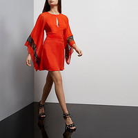 Red draped sleeve dress - day / t-shirt dresses - dresses - women