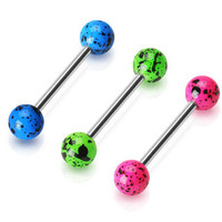 Tongue Ring Splatter Paint Blue Green or Pink 14ga Surgical Steel