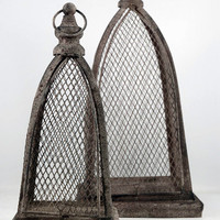Two Metal Cloche Domes with Trays