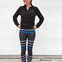 Leggings | Thin Blue Line Flag | Adult, Youth & Toddler | Police Leggings | Police Support | Police Wife | Police Kid