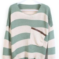 Green Striped Bats Sleeve Sweater For Women