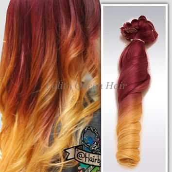 Red Ombre Sunset Mermaid Colorful Indian Remy Balayage Clip in Hair Extensions, 100% Human Hair,Yellow wigs,Festival Hair,Full Set 100grams+