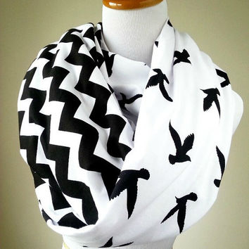 Bird Chevron Scarf, Black Bird Chevron infinity scarf- soft jersey knit, B7