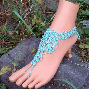 Seahorse Crochet Barefoot Sandals, Seahorse Wedding, Jewelry, Wedding Shoes and Accessories, Legwear