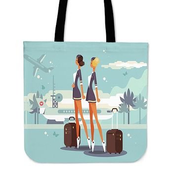 Flight Attendant Linen Tote Bag - Promo