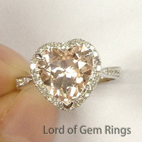 Heart Morganite Engagement Ring Pave Diamond Wedding 14K White Gold 8mm