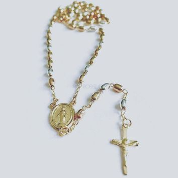 Tricolor Jesus Open Arms 18k Gold Plated Rosary