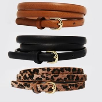 ASOS Leopard Hip and Waist Belt in 3 Pack