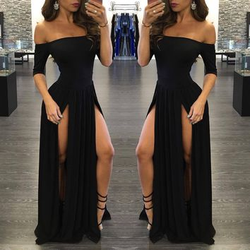 off Shoulder Short Sleeve High Slit Maxi Pleated Dress