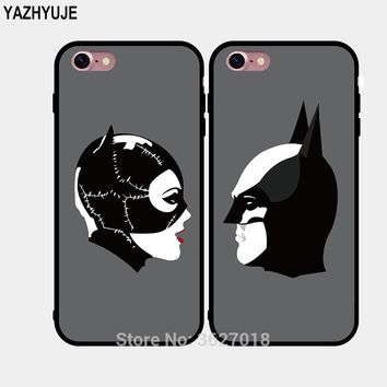 Batman Dark Knight gift Christmas YAZHYUJE New Black sot tpu Couple catwoman and batman Phone Case for Iphone 7 8 6 6S Plus X 5 5S SE Silicone Back Cover AT_71_6