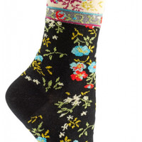 Mona Linen Socks-Black
