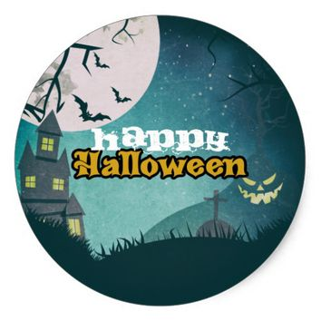 Spooky Haunted House Costume Night Sky Halloween Classic Round Sticker