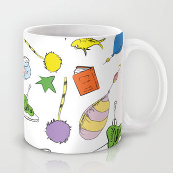 dr seuss pattern..  cat in the hat, lorax, oh the places you'll go,  Mug by Studiomarshallarts