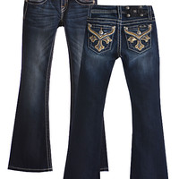 Miss Me Girls Jeans with Bedazzled Cross Pockets