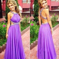 Purple Beaded Halter Prom Dresses 2016 Criss Cross Straps Bling Crystals A Line Party Evening Gowns
