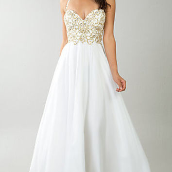 Beaded Ivory Halter Gown by Dave and Johnny