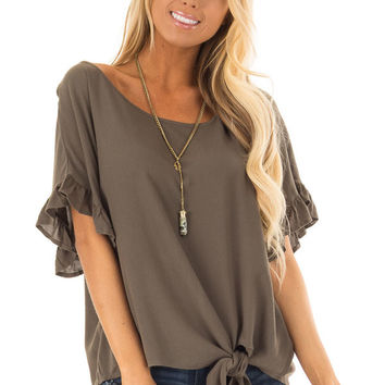 Dark Olive Ruffled Sleeve Blouse with Front Knot Detail