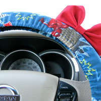 The Original Spiderman Steering Wheel Cover with Matching Red Bow